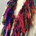 Recycled silk boho rainbow jewel  Scarf