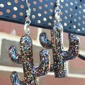 Cactus Drop Earrings - Midnight Glitter