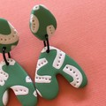 Green & White  - Polymer Clay Earrings