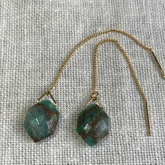 Chain Earrings with Amazonite Copper Turquoise