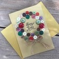 Xmas Button Wreath card
