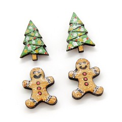 Christmas Collection - Christmas studs - Christmas trees and gingerbreads
