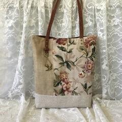 Vintage Style Tote, Project Bag, Market Bag, Vintage Fabrics, Linen, Cotton