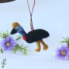 Southern Cassowary - Wool Felt Christmas Decoration