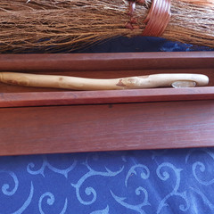 Wand hand made from eucalyptus wood featuring a faceted quartz (W3)