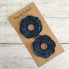 Handmade denim flower embellishments