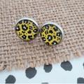 Glass dome stud earrings - Mustard Leopard Print