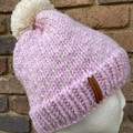 Pink beanie cream fair isle pompom chunky winter knit beanie