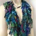 Recycled silk boho peacock Scarf