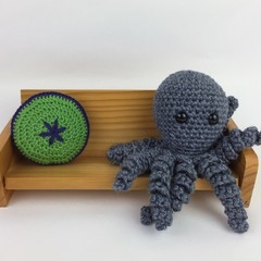Crochet Octopus Softie | Toy | Wool Bamboo | Gift Idea | Hand Crocheted | Grey