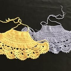 Crochet Girls Halter Crop Top, Boho, Beach Wear, Cotton.Christmas gift