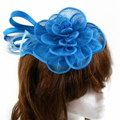 ZAYDA Turquoise Headpiece with sinamay flower