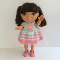 Small Dora Doll 22cm, Crocheted Dress and Panties