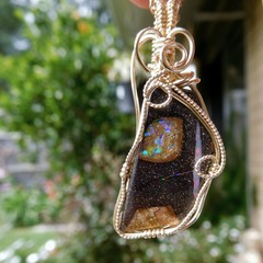 Koroit Boulder opal pendant, 14k gold filled, wire wrapped