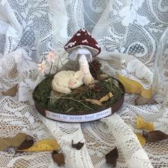 DORMOUSE, OOAK Soft Animal, Glass Cloche,  Handmade Mushroom Toadstool, Red