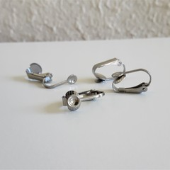 Darker Silver / Stainless Steel colour earring clip , Non hole earrings Allergy