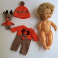 Small Doll - Curly Hair, Reindeer Jumpsuit and Matching Beanie and Reindeer Toy