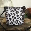 Dbl Zip Crossbody Bag - Snow Leopard/Brown Faux Leather