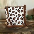 Dbl Zip Crossbody Bag - Leopard Print/Tan Faux Leather
