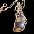Koroit Boulder opal pendant, 14k gold filled, wire wrapped