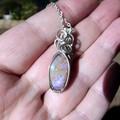 Andamooka Matrix Opal pendant sterling silver wire wrapped purple green