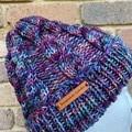 Handmade knitted purple cable beanie men's or ladies wool