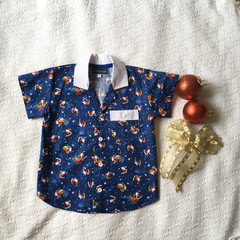 Christmas  button up shirt boys short sleeve casual Size 3  navy