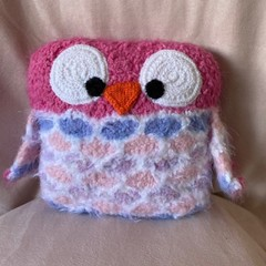 Cuddly soft owl pillow, beautiful on any child's bed