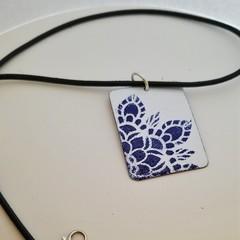 Cobalt and White  Enamel Pendant
