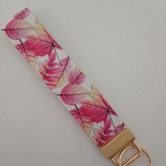 Pretty pink leaf key fob wristlet