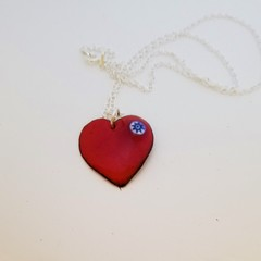 Delicate and lovely Red Heart Pendant with Sterling Silver chain
