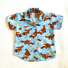 Christmas  button up shirt boys short sleeve casual Sizes 1, 3 and 5 Platypus