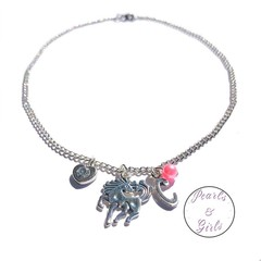 Personalised Unicorn charm stainless steel necklace
