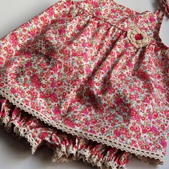 Vintage Floral Baby Girl's Top and Panties Set