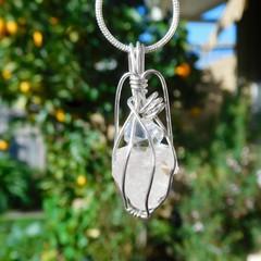 Raw Kunzite Herkimer diamond Sterling wrapped pendant