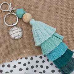 Never let anyone dull your sparkle-  Tassel keyring/bag tag