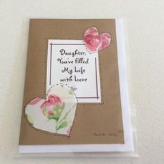 Blank Daughter card Thankyou or birthday