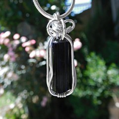 Raw Black Tourmaline Sterling silver wire wrapped
