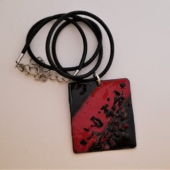 Black and Red Abstract Enamel Pendant