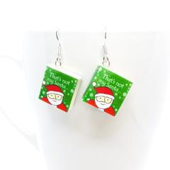 Miniature Christmas Book dangle earrings, Polymer clay earrings