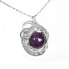 Amethyst pendant,  sterling wire wrapped
