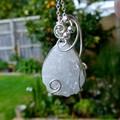 Druzy quartz crystal teardrop sterling wrapped pendant