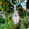 Raw Kunzite Herkimer diamond Sterling wrapped pendant