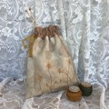 Drawstring Project Bag for Knitting, Crochet, Craft, Small Cotton Bag, Gift Bag