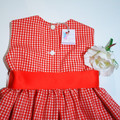Red gingham dress Girl baby toddler size 3 months - 6 years with optional pantie