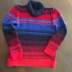Shades of  Red & Blue Striped Polo Jumper & Beanie