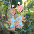 Roller Skate Bee and Daisy Wooden Earrings // Laser Cut Jewellery // Statement