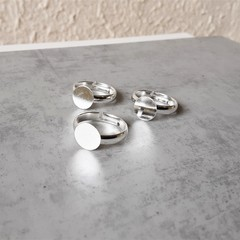 Silver colour Adjustable Pinky Ring Band with Cabochon Tray , Jewelry making