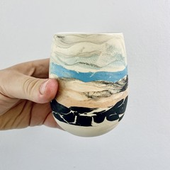 Ceramic Mug , Coffee Cup , Pottery Tea Cup,  Landscape Motif, Unique Pottery Art