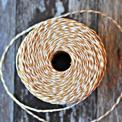 - BROWN -  Striped Paper Twine {20m} Recycled Paper Twine | Twisted Paper Cord